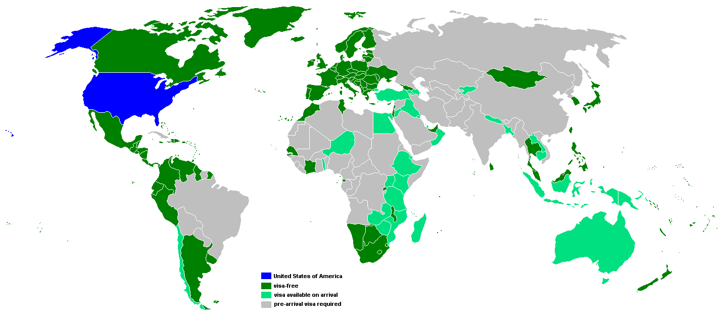 Безвизовые страны для граждан США