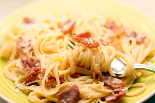 Спагетти с грудинкой в водке