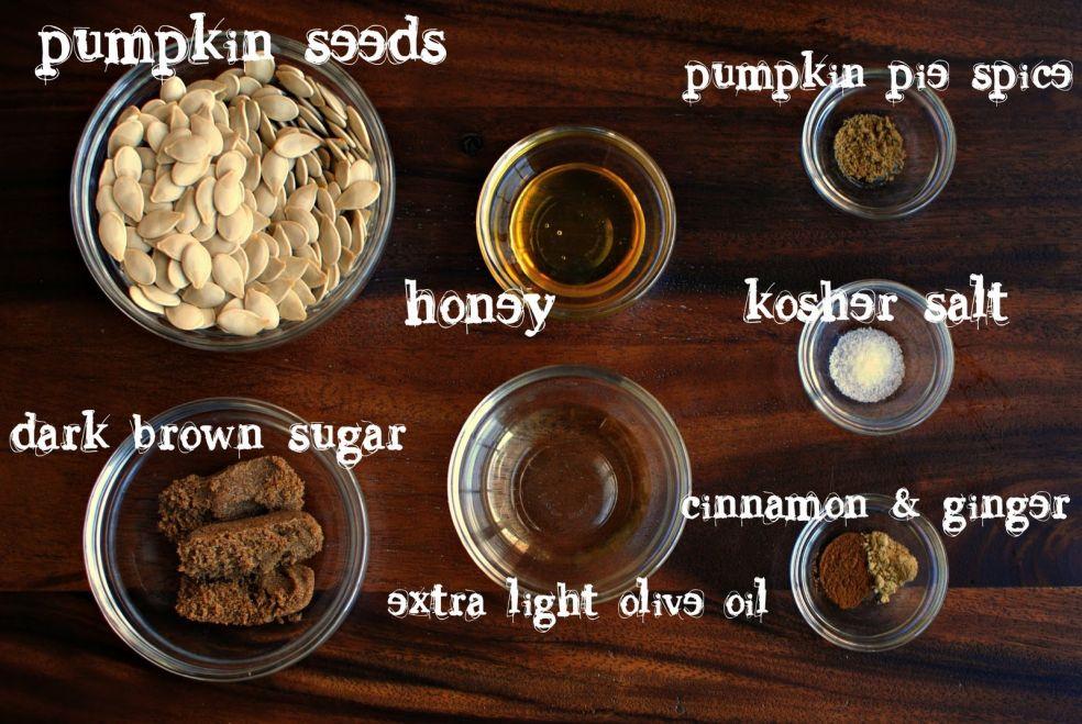 Тыквенные семечки, приправа для тыквенного пирога, мед, соль крупного помола, темный сахар, корица и имбирь, оливковое масло