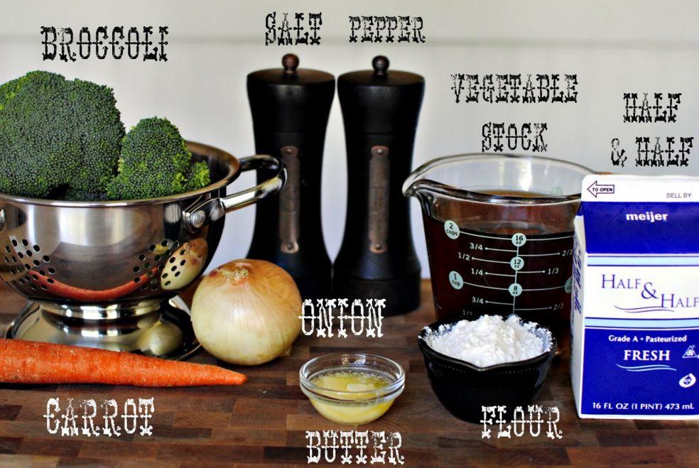 Брокколи, соль, перец, овощной бульон, молоко со сливками, лук, морковь, масло, мука