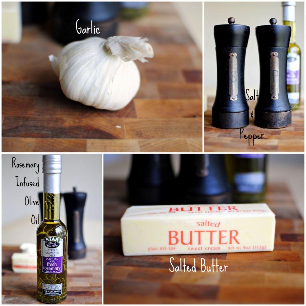 Чеснок, соль и перец, оливковое масло с розмарином, подсоленное масло