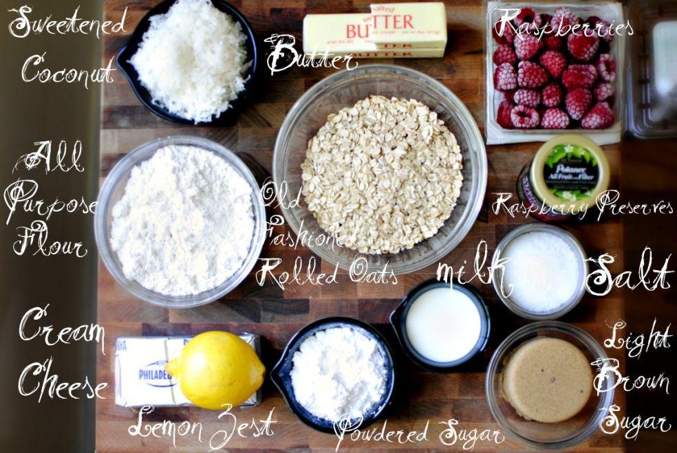 Подслащенная кокосовая стружка, сливочное масло, малина, мука, овсяные хлопья, малиновое варенье или джем, молоко, соль, творог, цедра лимона, темный сахар, сахарная пудра