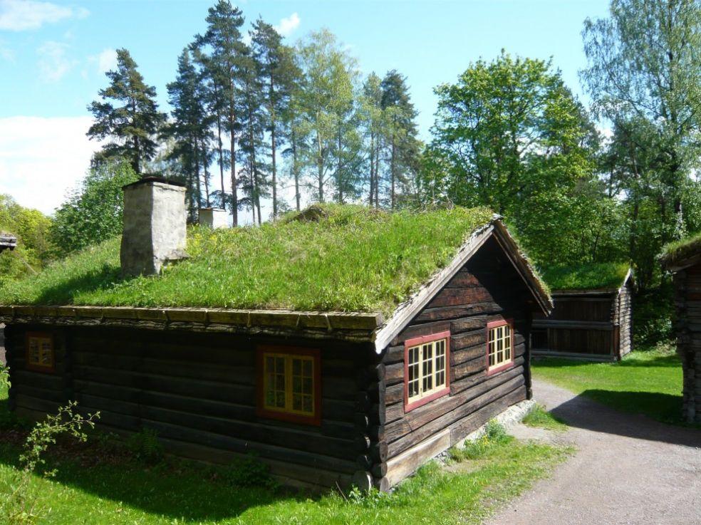 Зеленые крыши Норвежского фолкмузея