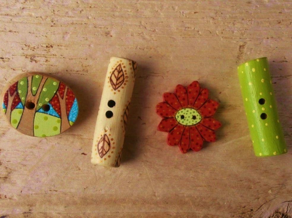 Деревянные пуговицы, раскрашенные вручную